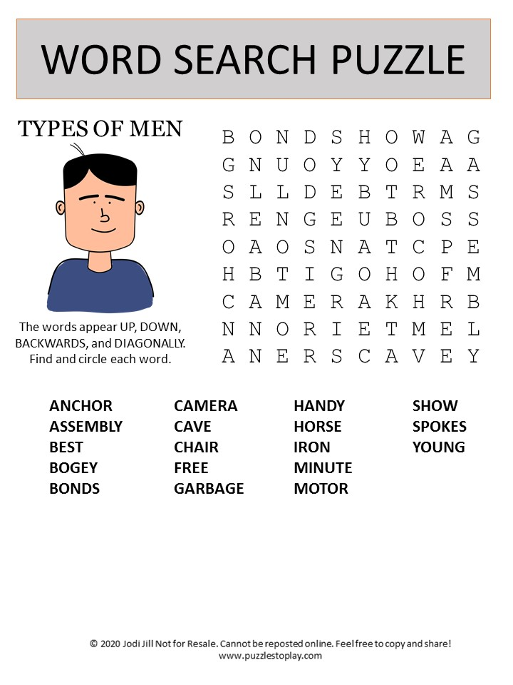 types of men word search puzzle