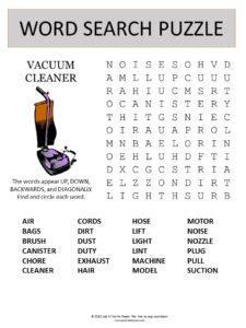 vacuum word search puzzle