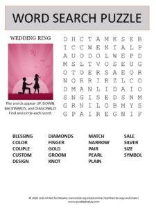 wedding ring word search puzzle