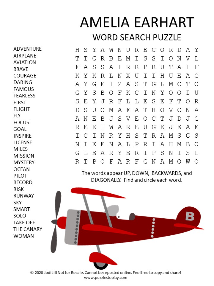 Amelia Earhart word search puzzle