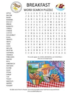 Breakfast word search puzzle