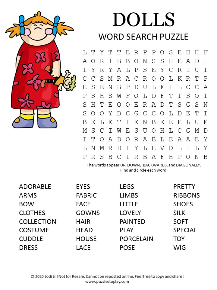 Dolls Word Search Puzzle