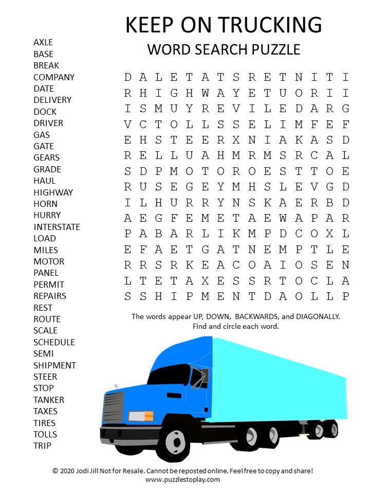 Keep on trucking word search puzzle