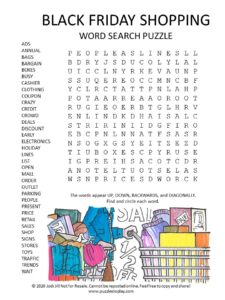 black friday word search puzzle