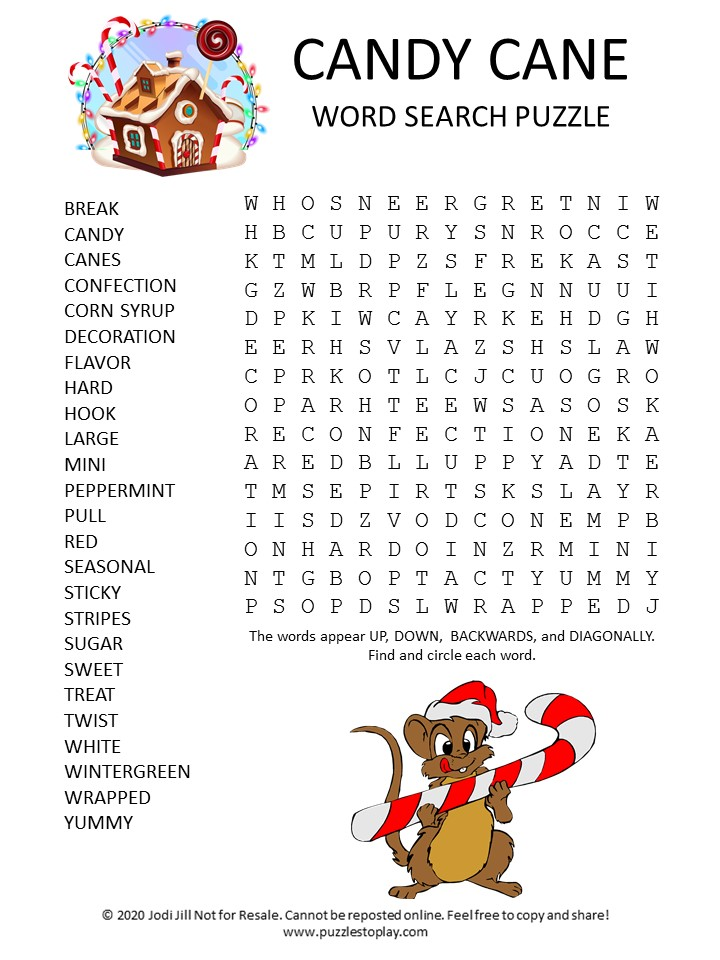 candy cane word search puzzle