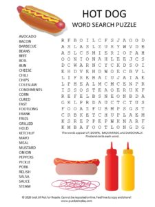 hot dog word search puzzle