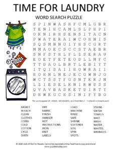 laundry word search puzzle