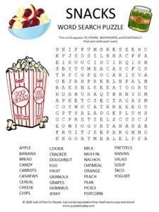 snacks word search puzzle