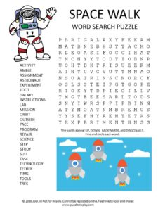 space walk word search puzzle