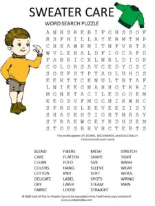 sweater care word search puzzle