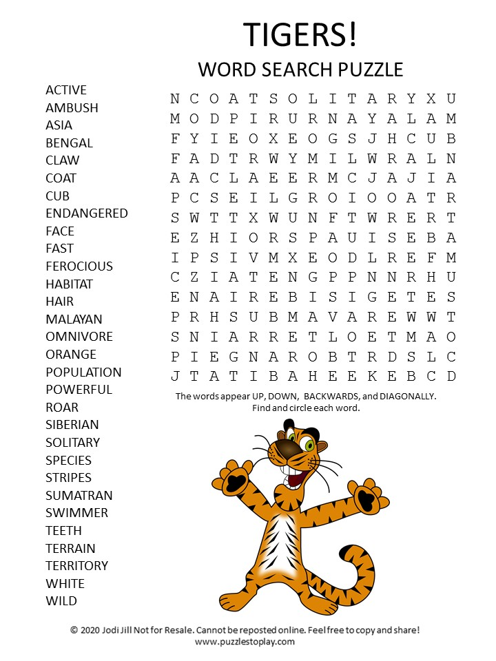 tigers word search puzzle