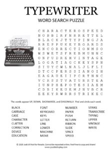 typewriter word search puzzle