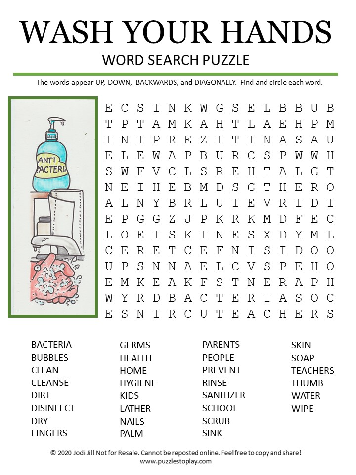 wash your hands word search puzzle