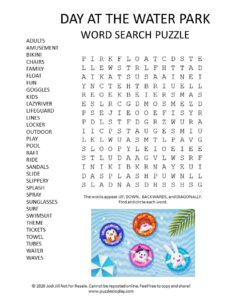 water park word search puzzle