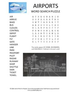 Airport word search puzzle