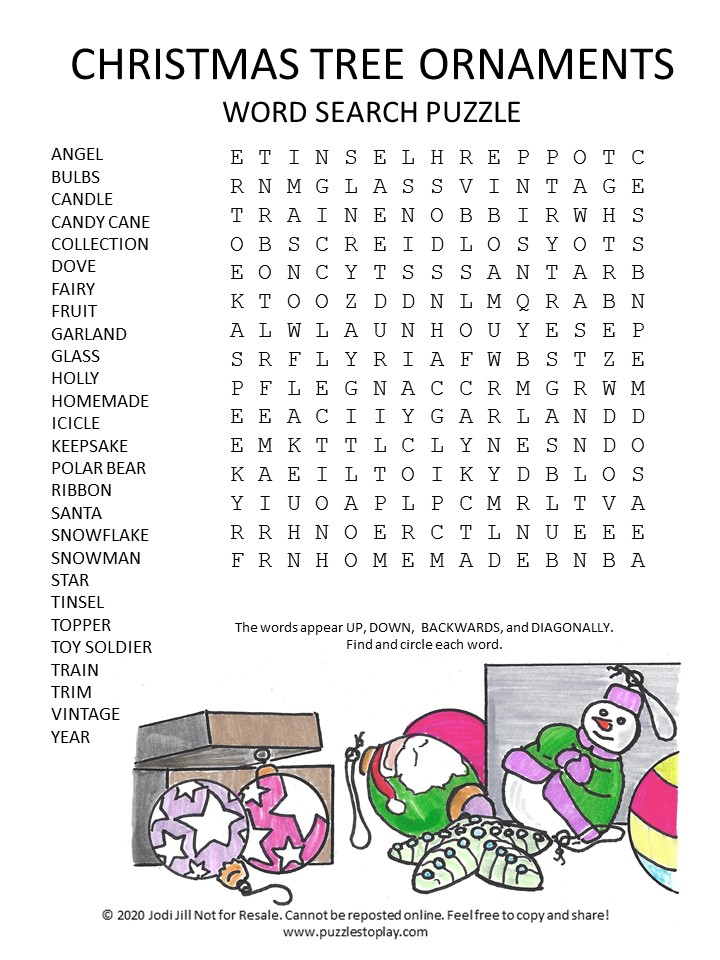 Christmas tree ornaments word search puzzle