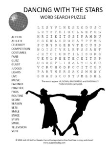 Dancing With the Stars word search puzzle