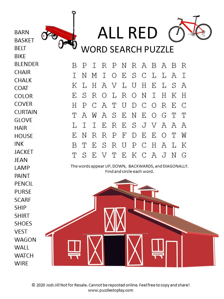 all red word search puzzle