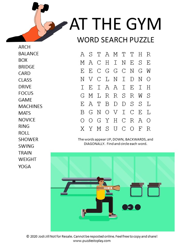 at the gym word search puzzle