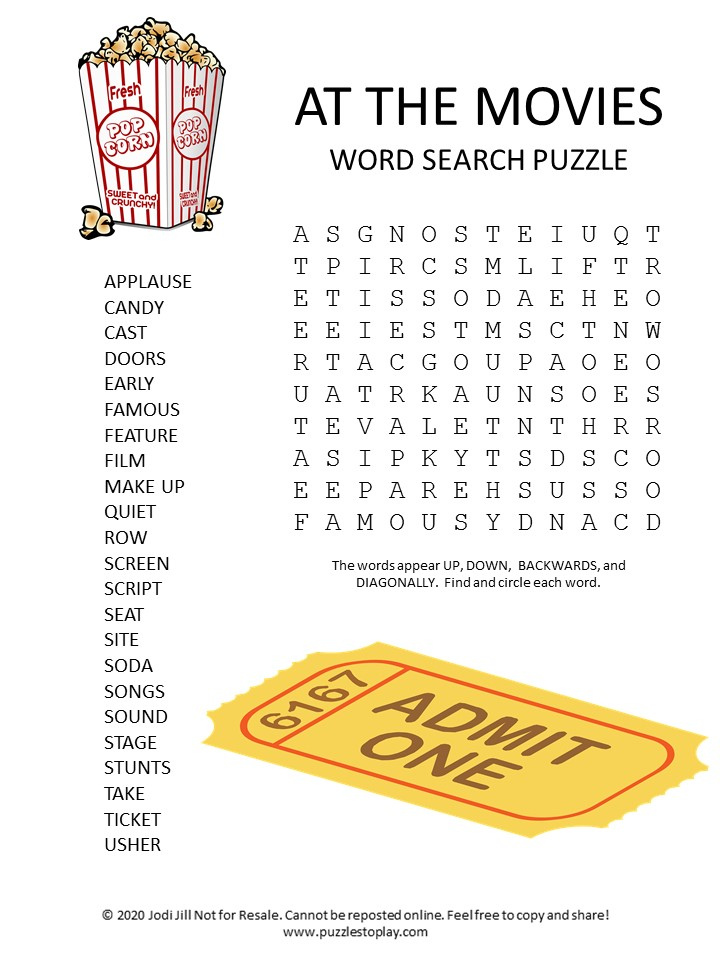at the movies word search puzzle