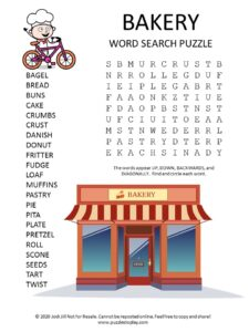 bakery word search puzzle