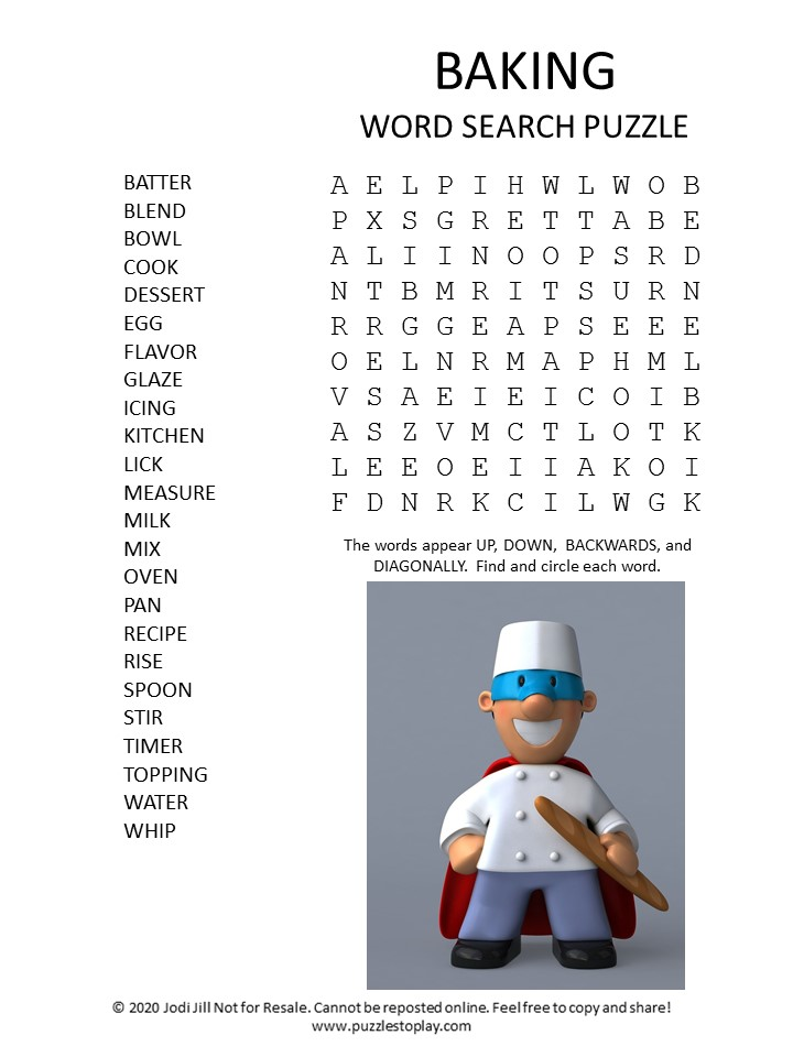 baking word search puzzle