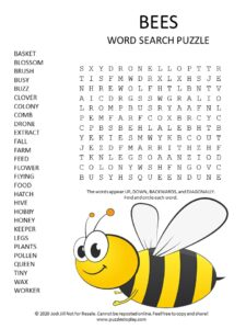 bees word search puzzle