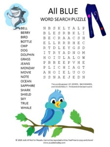 blue word search puzzle