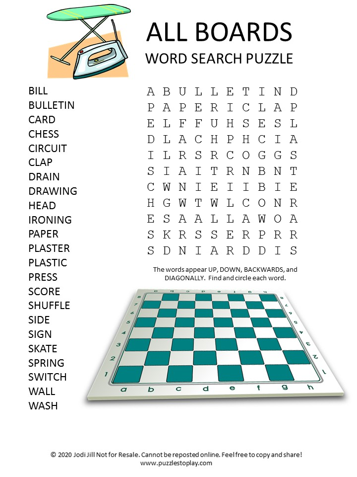 boards word search puzzle