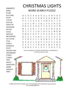 christmas lights word search puzzle