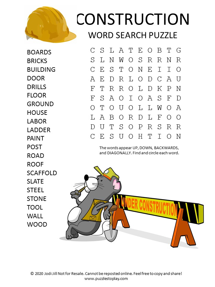 construction word search puzzle