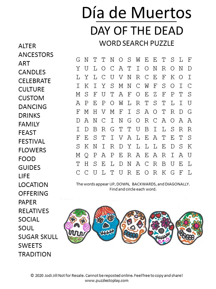 day of the dead word search puzzle