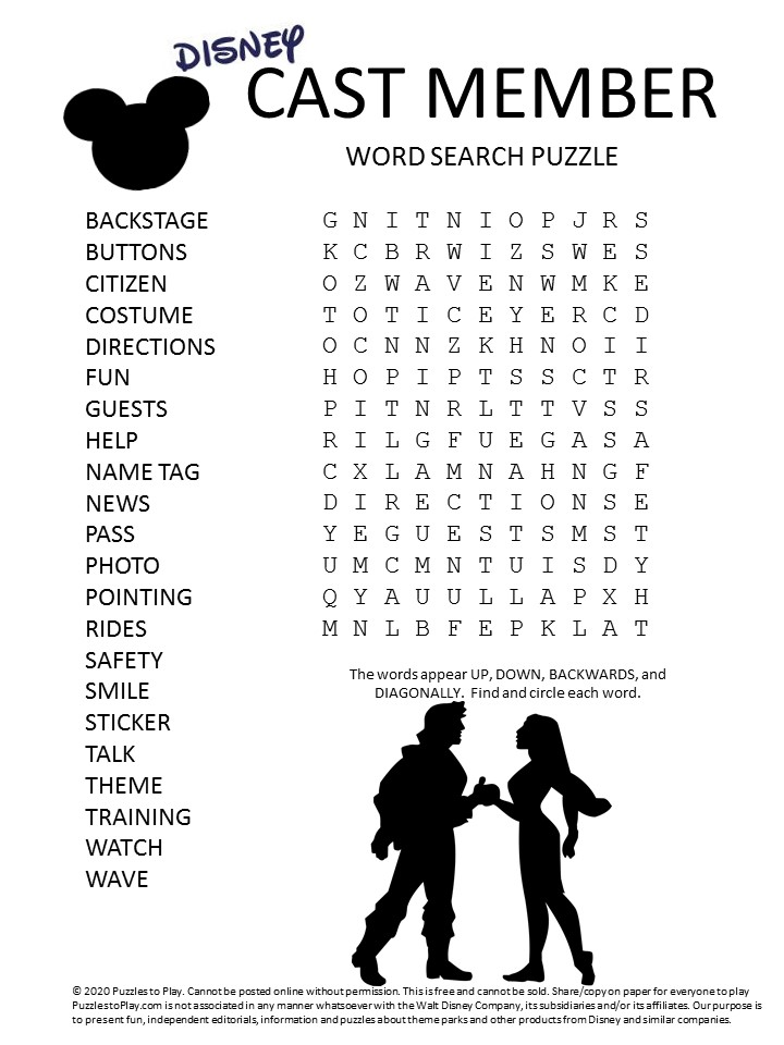 disney cast member word search puzzle