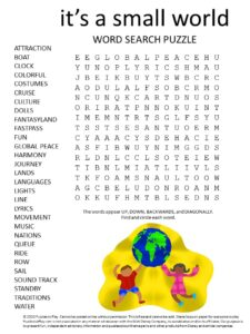 disney world its a small world ride word search puzzle