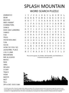 disney world splash mountain word search puzzle