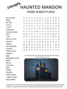 disney's haunted mansion word search puzzle