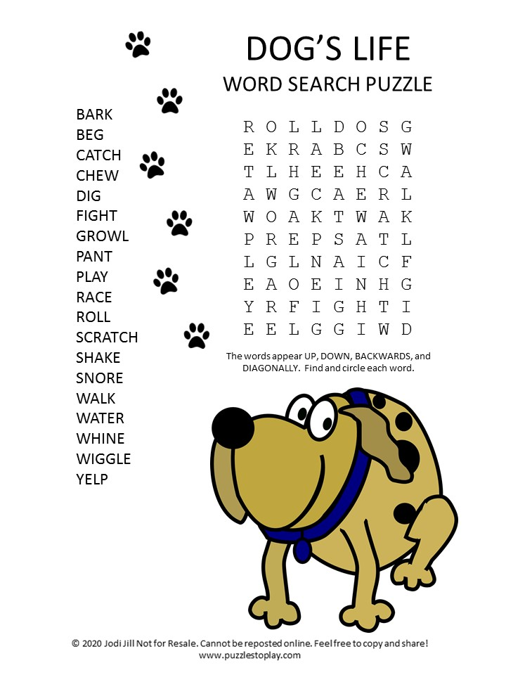 dogs life word search puzzle