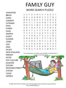 family guy word search puzzle