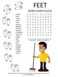feet word search puzzle