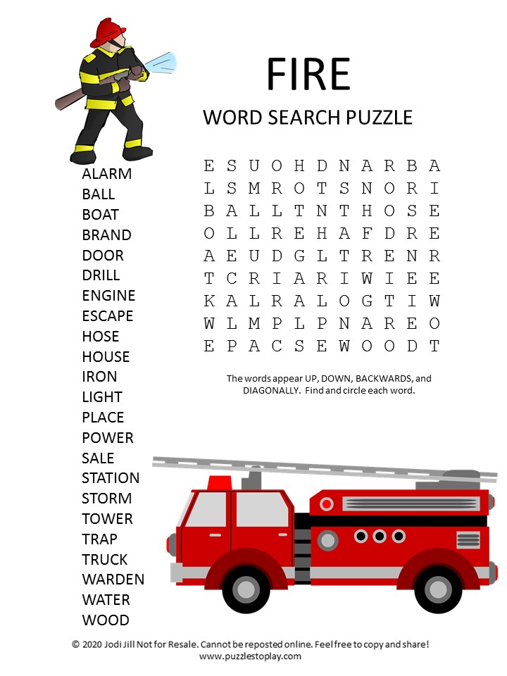fire word search puzzle
