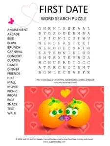 first date word search puzzle