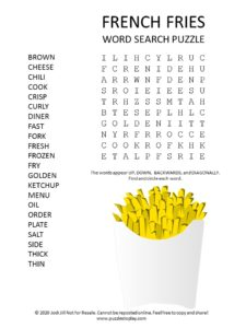 french fries word search puzzle