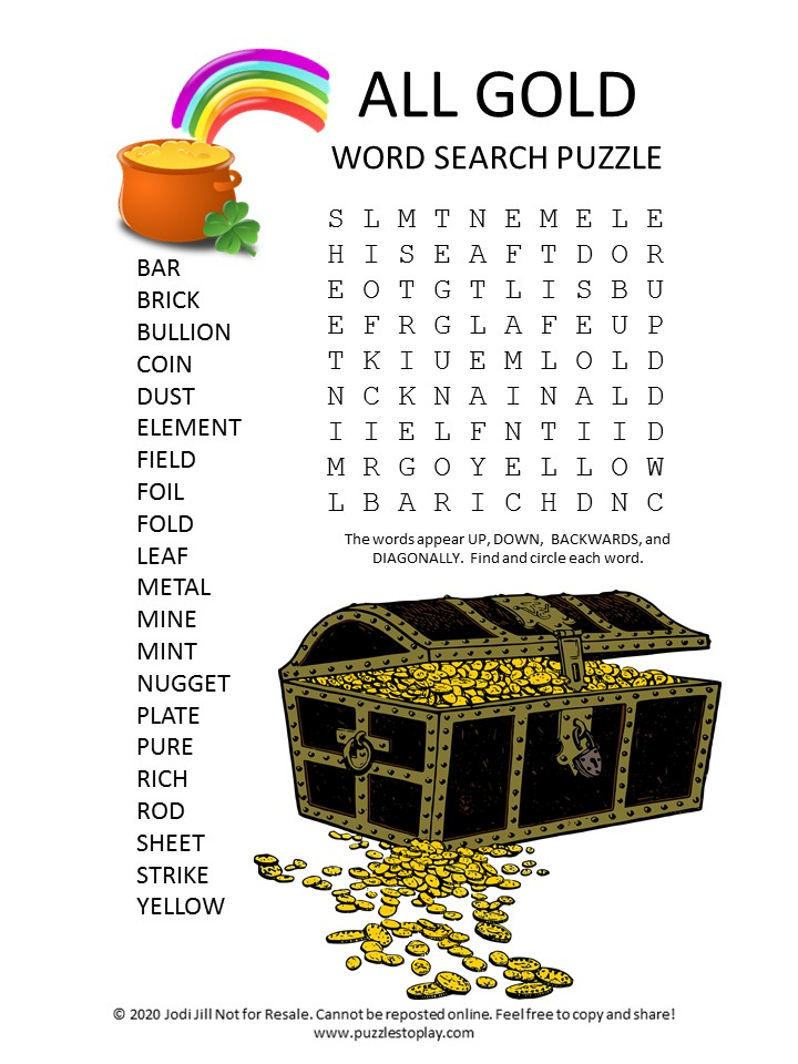 gold word search puzzle