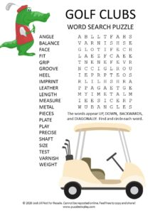 golf clubs word search puzzle