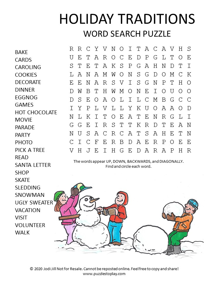 holiday traditions word search puzzle