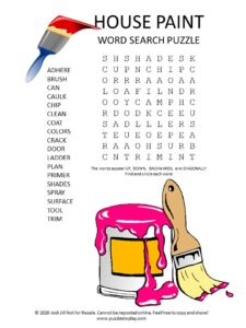 house paint word search puzzle
