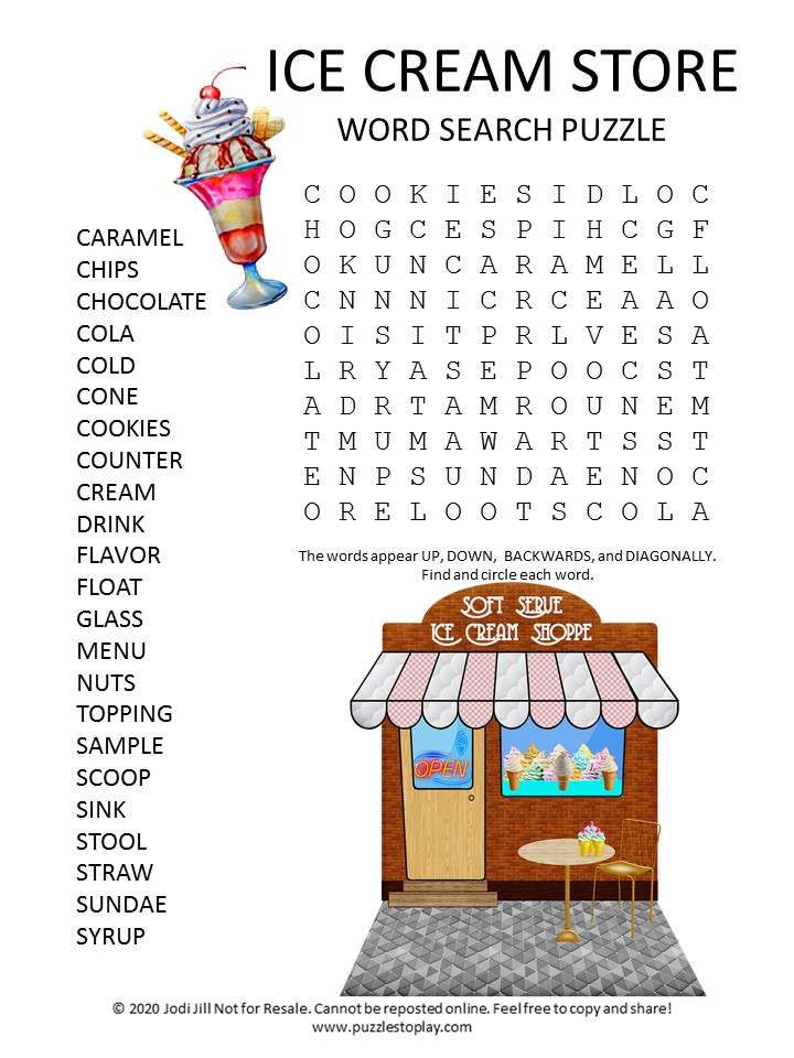 ice cream store word search puzzle