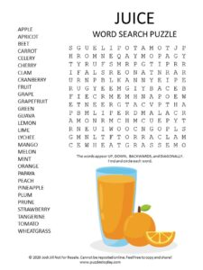 juice word search puzzle