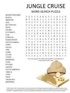 jungle cruise word search puzzle