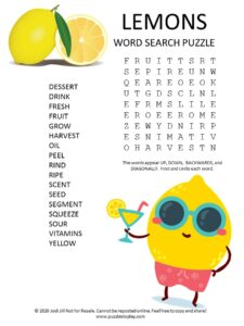 lemon word search puzzle